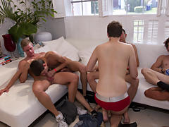 Gay group sex parties and gay group sex in public at Sausage Party