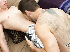 Straight men chest fetish and naked men together cumming at Bang Me Sugar Daddy