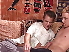 A threesome with enormously hung Cuban Viva, blond combine Capier and dark twink Lee gay male group sex