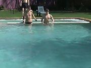 Young boy shirtless tube...