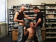 Both stuffing infertile Anthony's face full of cock, then propping him up on the desk and fucking him senseless in great spit-roasting action gay