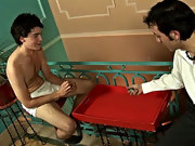 The dice easily forgotten, the two started exchanging oral favors until the handcuffs ended up with his twink lover's cock the briny deep in his