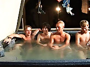 We got 4 boys: Tanner, Dakota, Tommy, and Josh all in the hot tub, ready to fill up it one chaos of a party gient gay group orgy