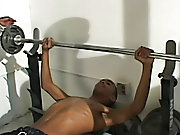 """We conned him into coming to """"copy some weights"""" with us, but what he ended up doing what lifting our hard cocks up to his sexy lips nude bl"""