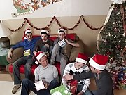 Santa exclaims this is what we call a White Christmas group gay cocks at Broke College Boys!